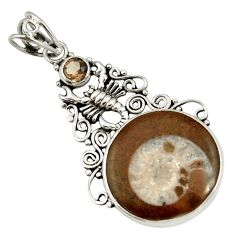15.39cts natural brown ammonite fossil 925 silver scorpion pendant d44205
