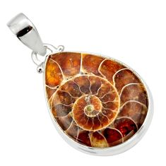 18.70cts natural brown ammonite fossil 925 sterling silver pendant r33638
