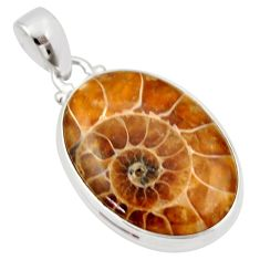 22.59cts natural brown ammonite fossil 925 sterling silver pendant r33705