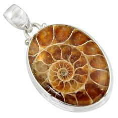 26.16cts natural brown ammonite fossil 925 sterling silver pendant r41842