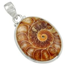 23.95cts natural brown ammonite fossil 925 sterling silver pendant r41843