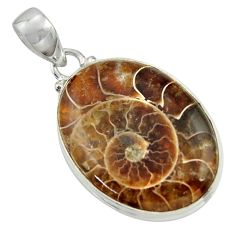 21.48cts natural brown ammonite fossil 925 sterling silver pendant r41845