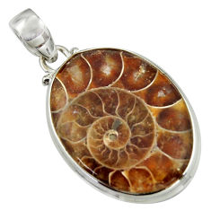 26.11cts natural brown ammonite fossil 925 sterling silver pendant r41846