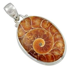 22.02cts natural brown ammonite fossil 925 sterling silver pendant r41851