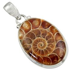 19.57cts natural brown ammonite fossil 925 sterling silver pendant r41852