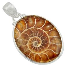 22.02cts natural brown ammonite fossil 925 sterling silver pendant r41854