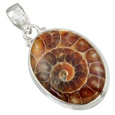 20.96cts natural brown ammonite fossil 925 sterling silver pendant r41856