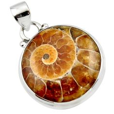 16.07cts natural brown ammonite fossil 925 sterling silver pendant r46581