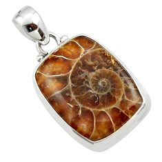 14.82cts natural brown ammonite fossil 925 sterling silver pendant r46585
