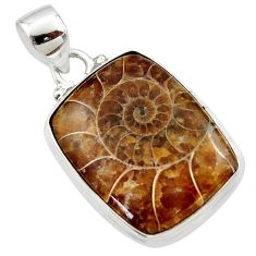 15.48cts natural brown ammonite fossil 925 sterling silver pendant r46588