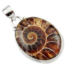 13.93cts natural brown ammonite fossil 925 sterling silver pendant r46591