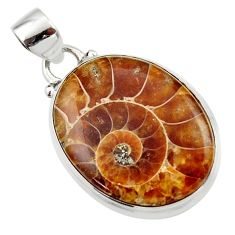 14.95cts natural brown ammonite fossil 925 sterling silver pendant r46593