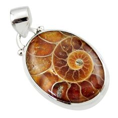 12.60cts natural brown ammonite fossil 925 sterling silver pendant r46598