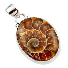 15.60cts natural brown ammonite fossil 925 sterling silver pendant r46600