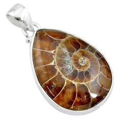 18.15cts natural brown ammonite fossil 925 sterling silver pendant t21576