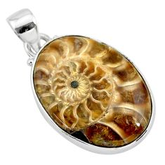 16.20cts natural brown ammonite fossil 925 sterling silver pendant t21580