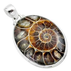 33.68cts natural brown ammonite fossil 925 sterling silver pendant t42481
