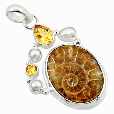 26.62cts natural brown ammonite fossil citrine pearl 925 silver pendant r40102