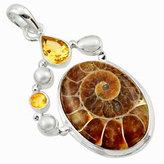 28.30cts natural brown ammonite fossil citrine pearl 925 silver pendant r40106