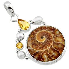 26.65cts natural brown ammonite fossil citrine pearl 925 silver pendant r40119
