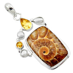 28.27cts natural brown ammonite fossil citrine pearl 925 silver pendant r40120