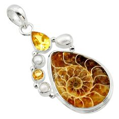 26.06cts natural brown ammonite fossil citrine pearl 925 silver pendant r40129