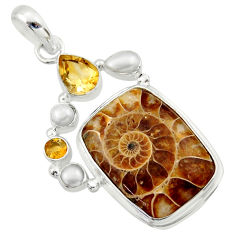 27.70cts natural brown ammonite fossil citrine pearl 925 silver pendant r40134