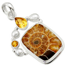 25.57cts natural brown ammonite fossil citrine pearl 925 silver pendant r40136