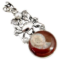 Clearance Sale- 19.00cts natural brown ammonite fossil pearl 925 silver crab pendant d44203