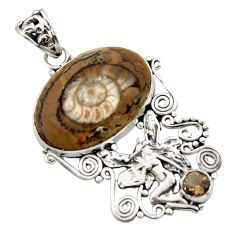 19.00cts natural brown ammonite fossil silver angel wings fairy pendant d46710