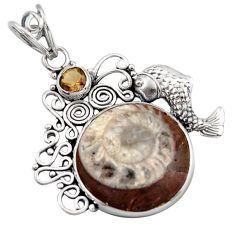 16.46cts natural brown ammonite fossil smoky topaz 925 silver pendant d46665