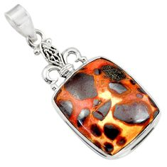 Clearance Sale- 20.07cts natural brown bauxite 925 sterling silver pendant jewelry d42165