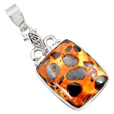 Clearance Sale- 19.07cts natural brown bauxite 925 sterling silver pendant jewelry d42167