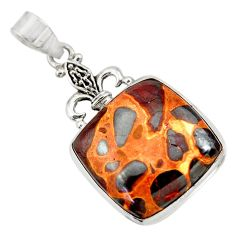 Clearance Sale- 24.00cts natural brown bauxite 925 sterling silver pendant jewelry d42172