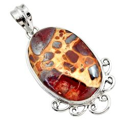 18.68cts natural brown bauxite 925 sterling silver pendant jewelry r27937