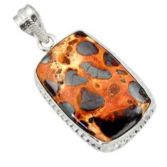22.90cts natural brown bauxite 925 sterling silver pendant jewelry r31947