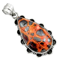21.20cts natural brown bauxite 925 sterling silver pendant jewelry r31949