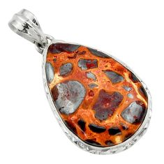 22.90cts natural brown bauxite 925 sterling silver pendant jewelry r31954