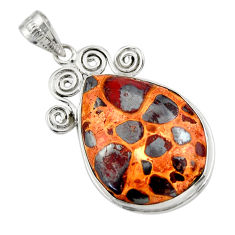 22.05cts natural brown bauxite 925 sterling silver pendant jewelry r31956