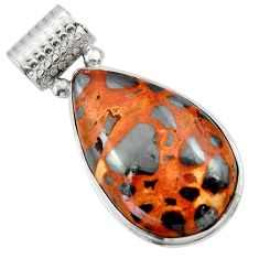 22.90cts natural brown bauxite 925 sterling silver pendant jewelry r31957
