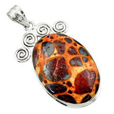 24.38cts natural brown bauxite 925 sterling silver pendant jewelry r31959