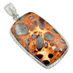 28.86cts natural brown bauxite 925 sterling silver pendant jewelry r41677