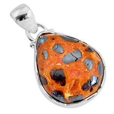 11.17cts natural brown bauxite 925 sterling silver pendant jewelry r94651
