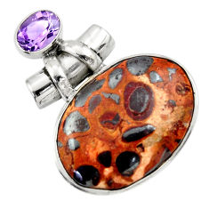 23.46cts natural brown bauxite amethyst 925 sterling silver pendant r31943