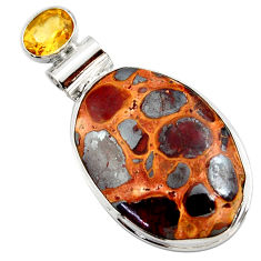 20.07cts natural brown bauxite citrine 925 sterling silver pendant r27930