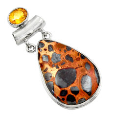 26.16cts natural brown bauxite citrine 925 sterling silver pendant r31942