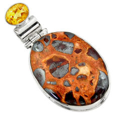 22.59cts natural brown bauxite citrine 925 sterling silver pendant r31950