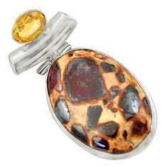 26.14cts natural brown bauxite citrine 925 sterling silver pendant r41663