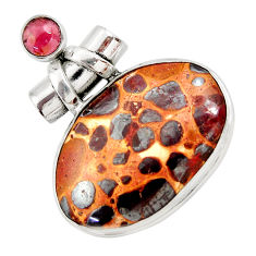 29.93cts natural brown bauxite garnet 925 sterling silver pendant jewelry r30500