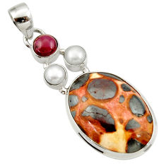 19.23cts natural brown bauxite garnet pearl 925 silver pendant jewelry d43204